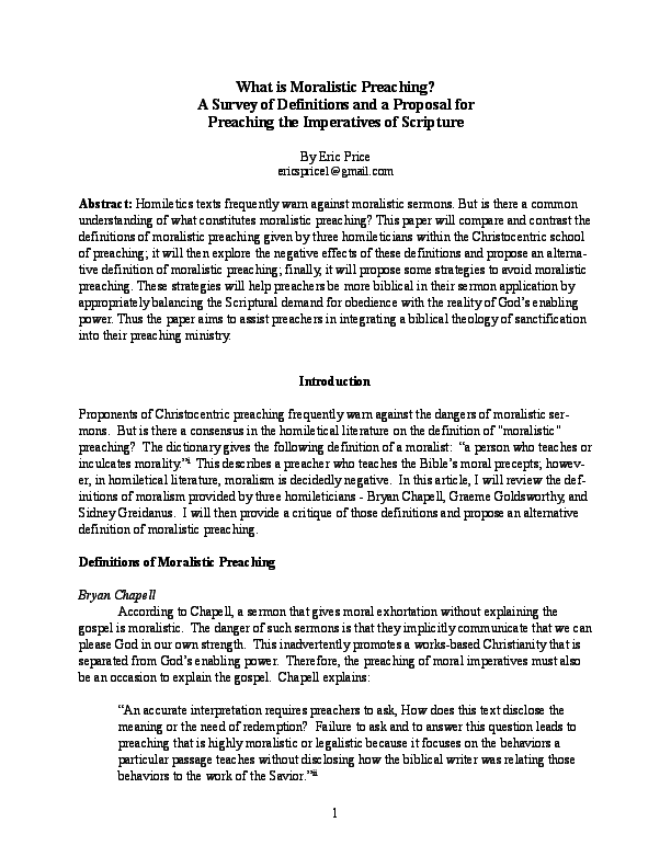 PDF) What is Moralistic Preaching? A Survey of Definitions