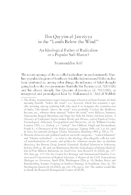 Ibn al Qayyim in the Malay Indonesian World