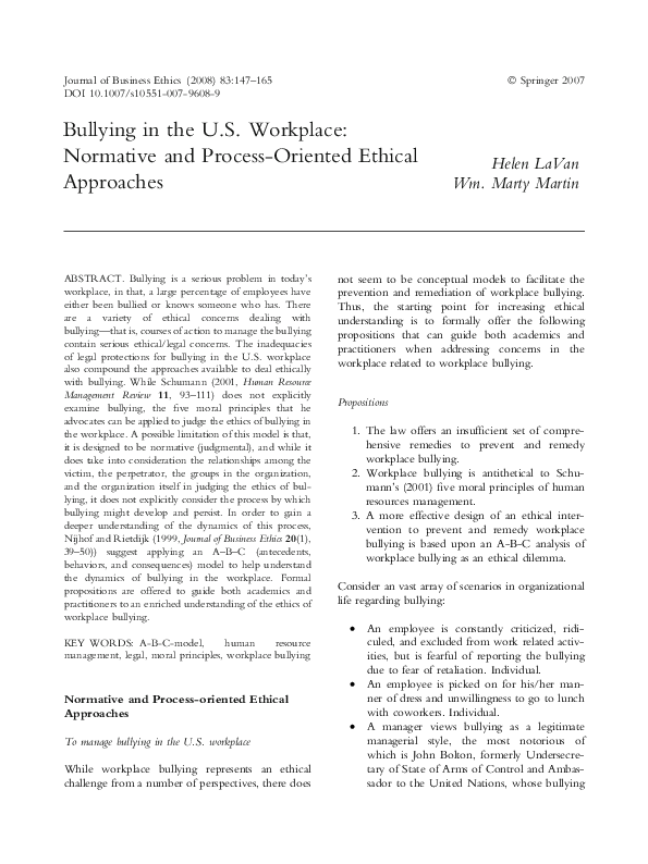 PDF) Bullying in the U S  Workplace: Normative and Process-Oriented