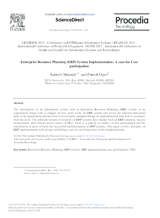 PDF) Enterprise Resource Planning (ERP) System Implementation: A