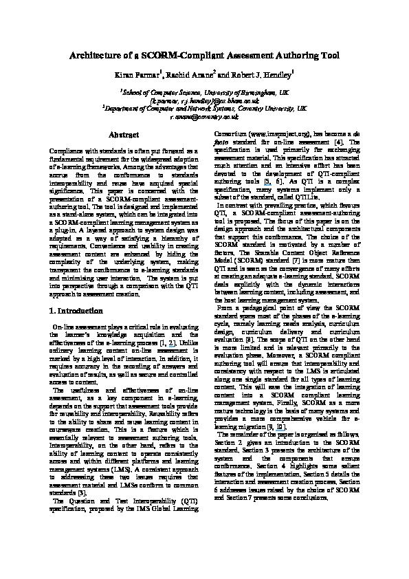 PDF) Architecture of a SCORM-Compliant Assessment Authoring