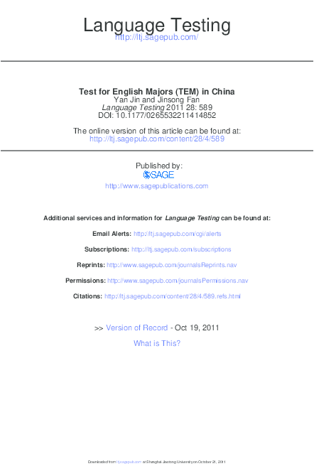 PDF) Test for English Majors (TEM) in China | Jinsong Fan