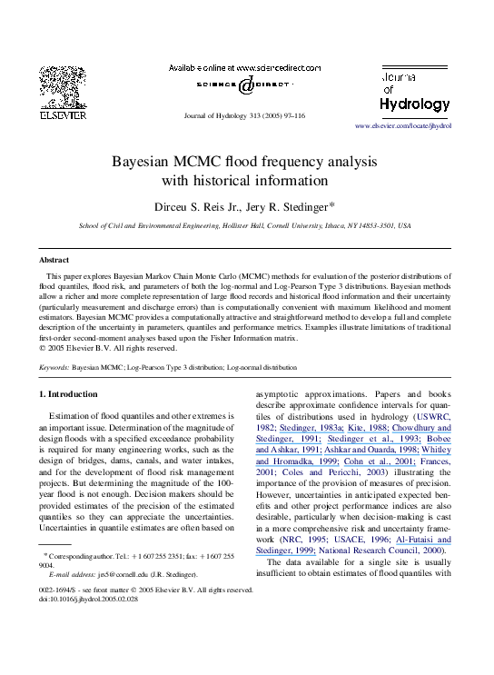 PDF) Bayesian MCMC flood frequency analysis with historical