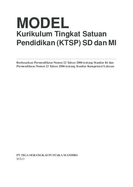 Pdf Kurikulum Tingkat Satuan Pendidikan Ktsp Sd Dan Mi Model Model Zulfan Alimuddin Academia Edu