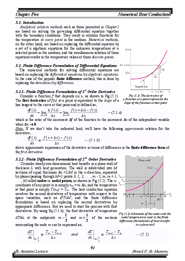 PDF) Chapter Five: Numerical Heat Conduction | Ahmed