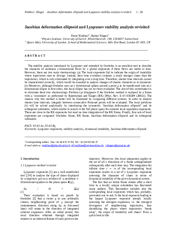 PDF) Jacobian deformation ellipsoid and Lyapunov stability