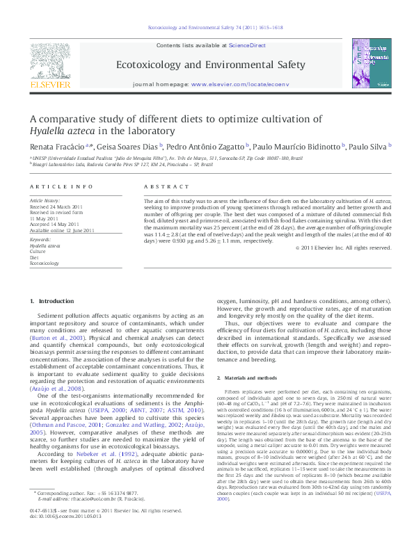 Pdf A Comparative Study Of Different Diets To Optimize Cultivation Of Hyalella Azteca In The Laboratory غربه الحسن Academia Edu
