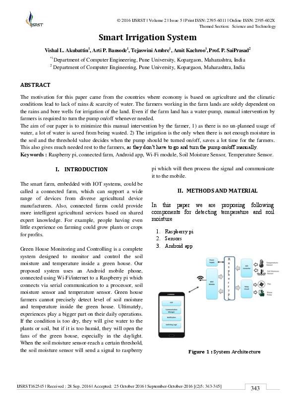 PDF) Smart Irrigation System   International Journal of