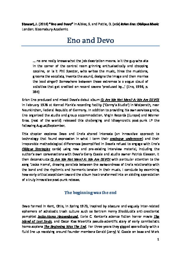 PDF) Eno and Devo.pdf   Jon Stewart - Academia.edu