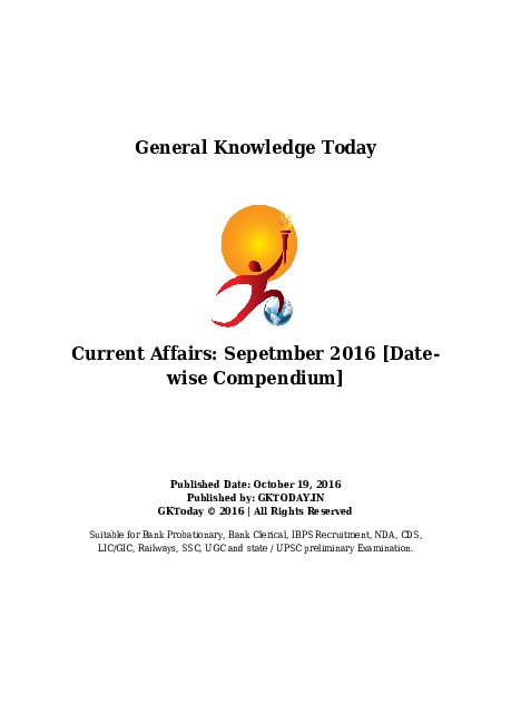 PDF) General Knowledge Today Current Affairs: Sepetmber 2016