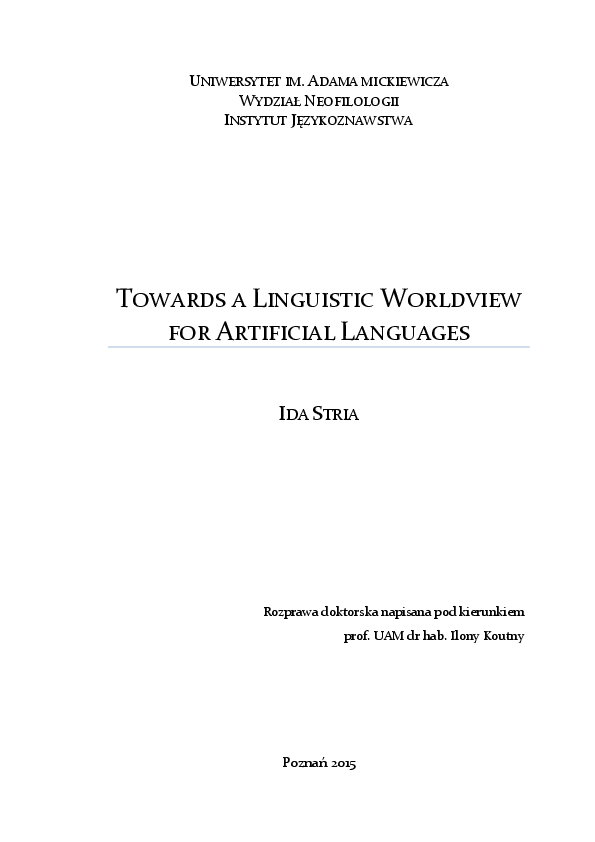 PDF) Towards a Linguistic Worldview for Artificial Languages