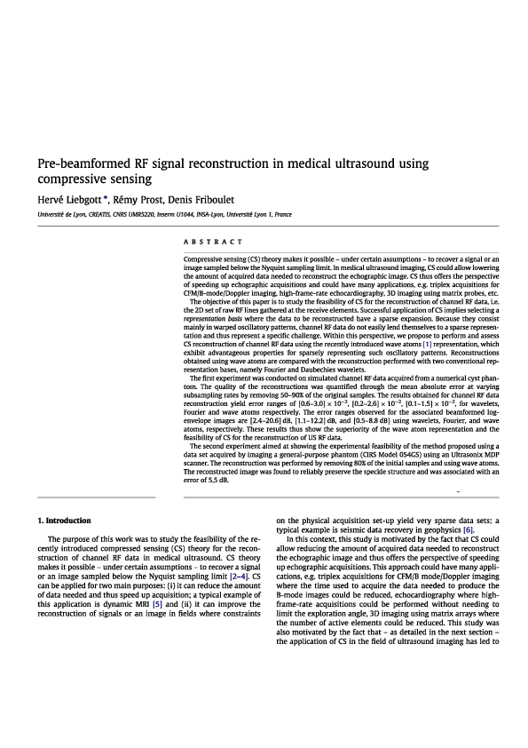 PDF) Pre-beamformed RF signal reconstruction in medical ultrasound