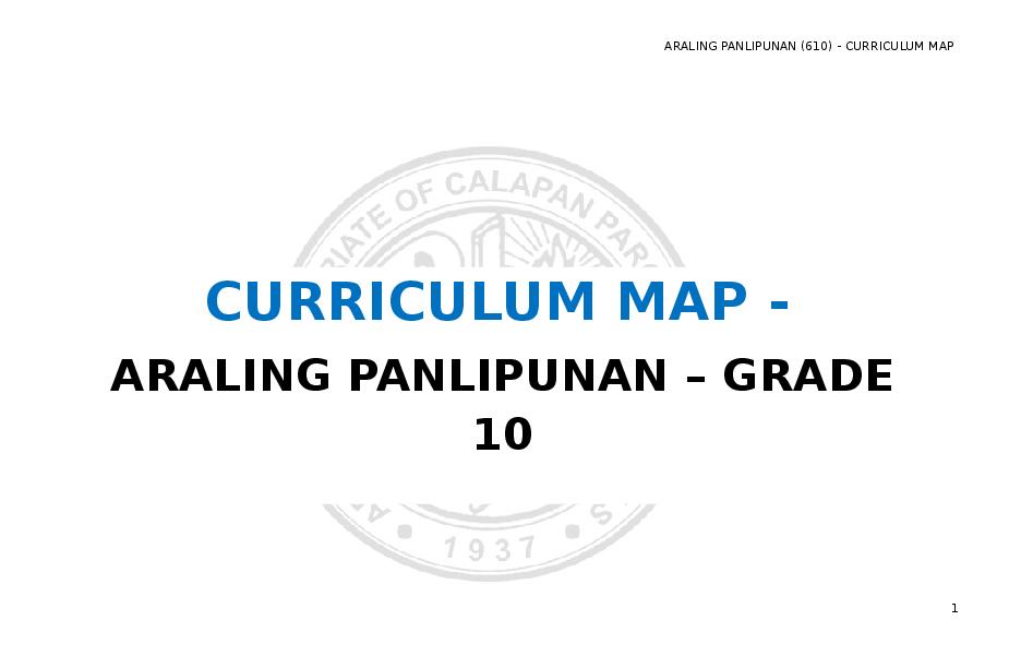 (DOC) curriculum map sa araling panlipunan 9 ekonomiks