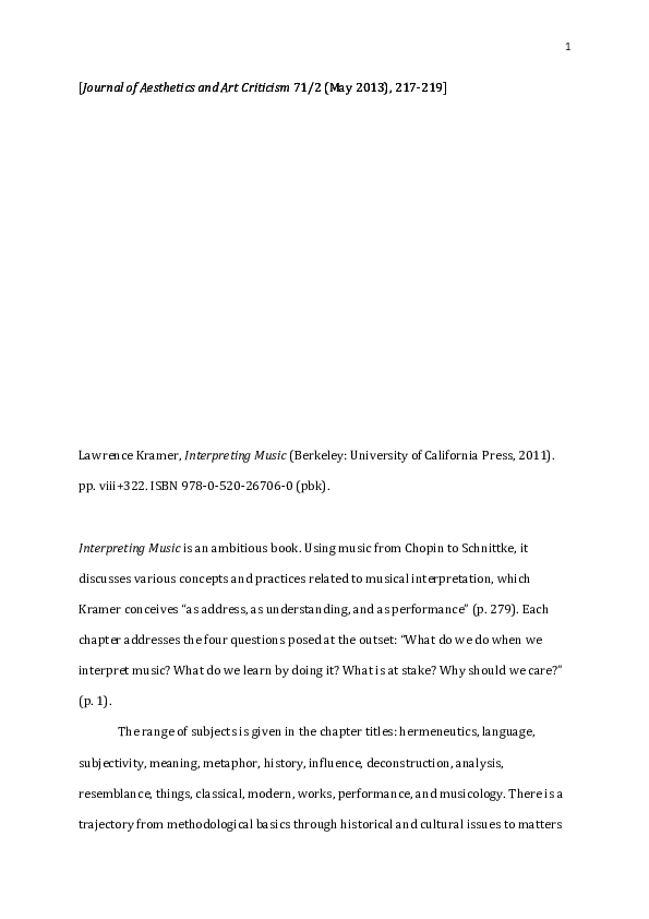 musical meaning kramer lawrence
