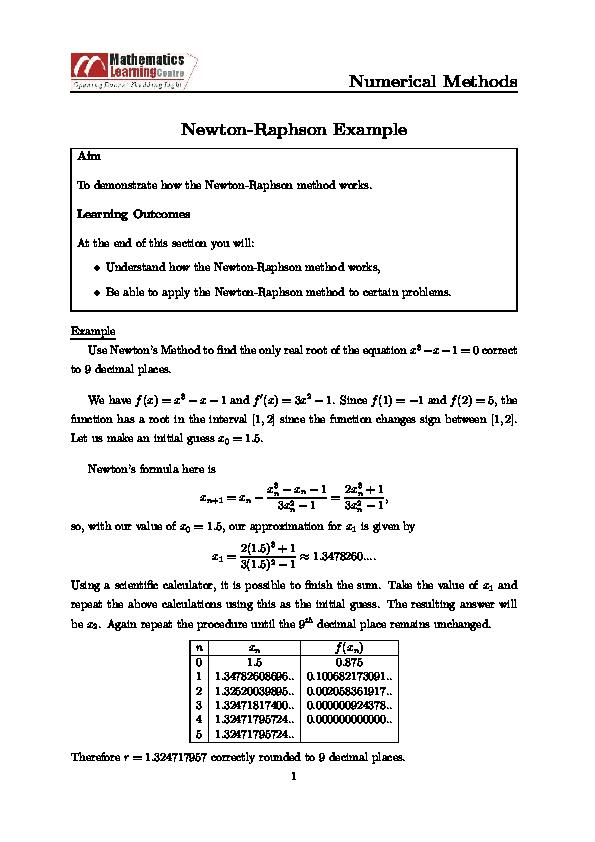 PDF) Numerical Methods Newton-Raphson Example | Green Octave
