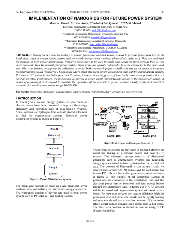 PDF) IMPLEMENTATION OF NANOGRIDS FOR FUTURE POWER SYSTEM