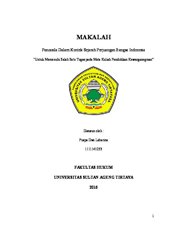 Doc Makalah Pancasila Dalam Kontek Sejarah Perjuangan Bangsa Indonesia Puspa Dwi Labarina Academia Edu