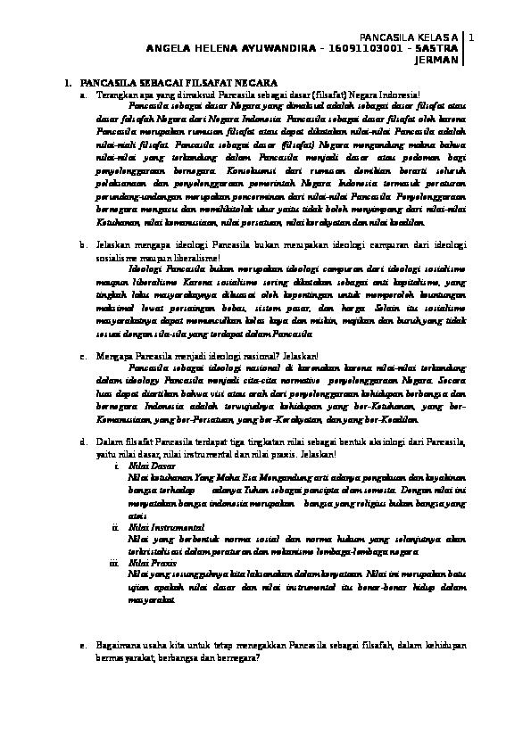 Doc 55 Pertanyaan Tugas Mata Kuliah Pancasila Fungsi Dan Kedudukan Pancasila Angela Wijaya Academia Edu