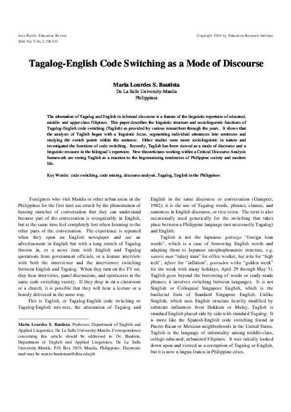 PDF) Tagalog-english code switching as a mode of discourse