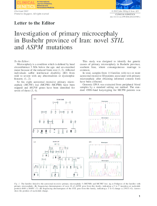 PDF) Investigation of primary microcephaly in Bushehr