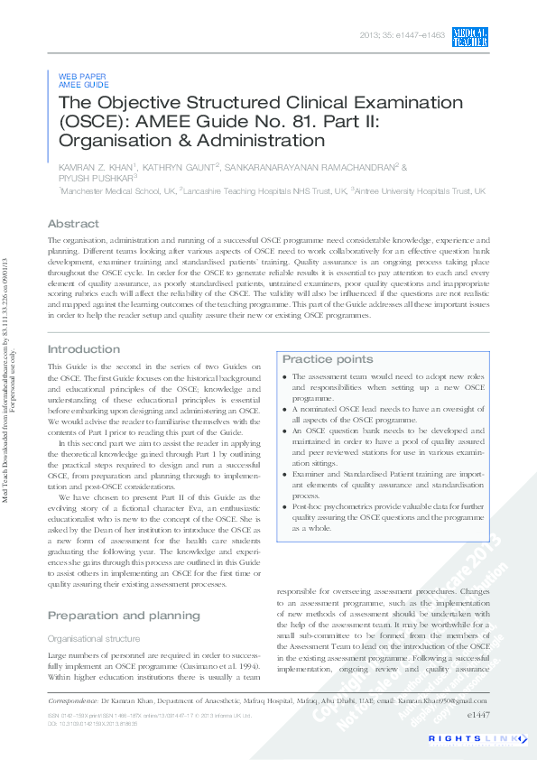 PDF) The Objective Structured Clinical Examination (OSCE): AMEE