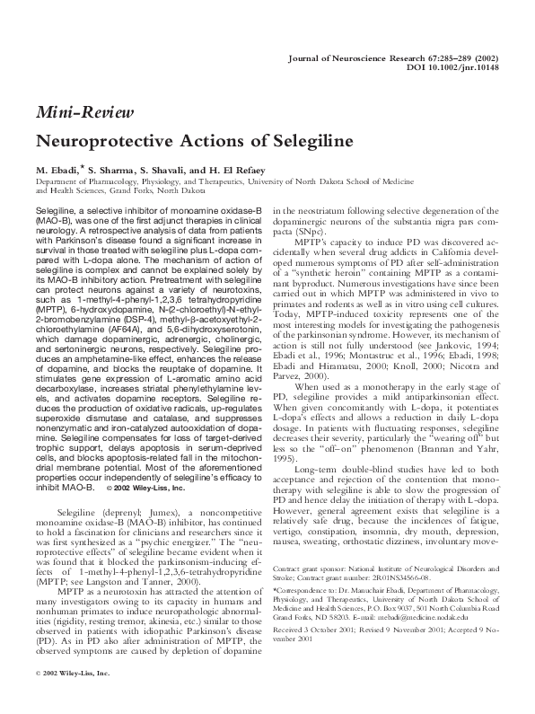 PDF) Neuroprotective actions of selegiline   Hesham El Refaey