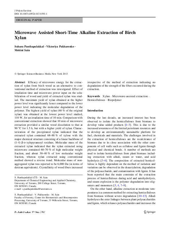 PDF) Microwave Assisted Short-Time Alkaline Extraction of