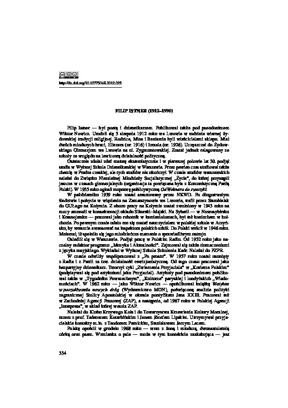 Pdf Filip Istner 19121990 Karolina Famulska Ciesielska