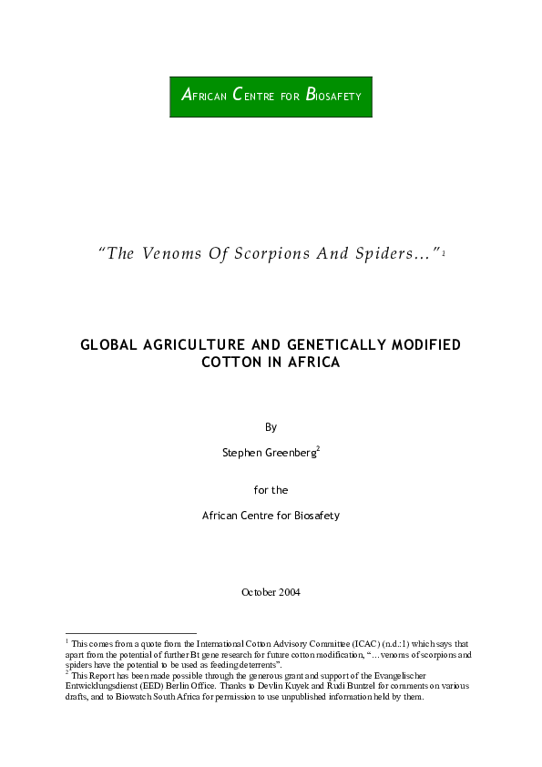PDF) Global Agriculture and Genetically Modified Cotton in Africa