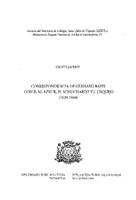 Pdf Correspondencia De Gerhard Bähr Con Rm Azkue H