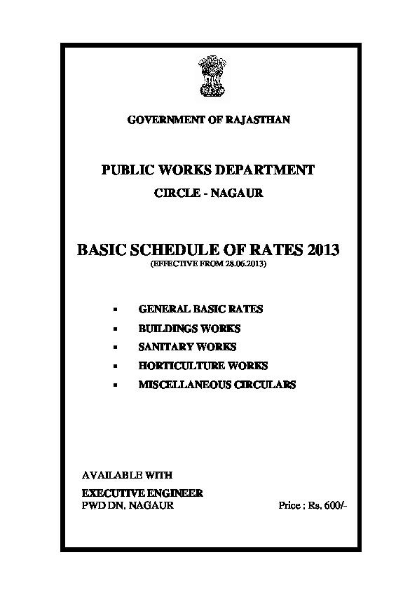 PDF) GOVERNMENT OF RAJASTHAN PUBLIC WORKS DEPARTMENT CIRCLE -NAGAUR