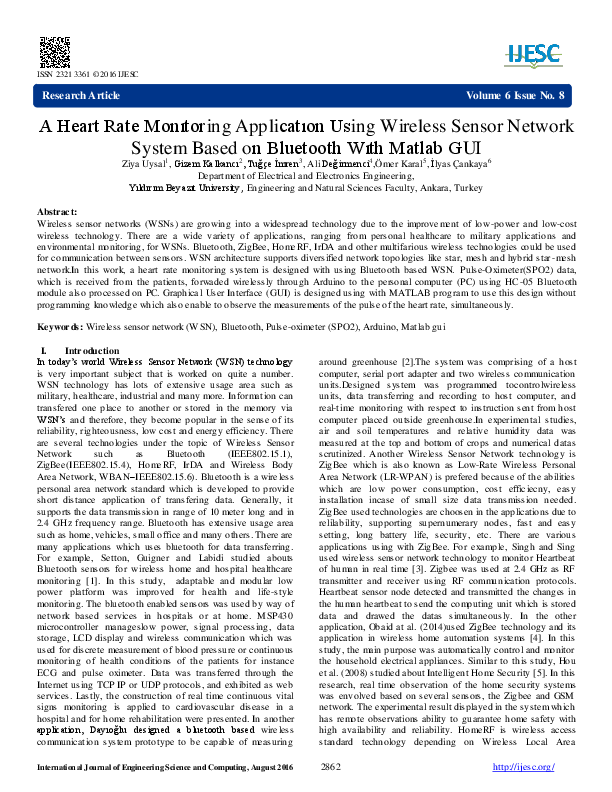 PDF) A Heart Rate Monıtoring Applicatıon Using Wireless Sensor