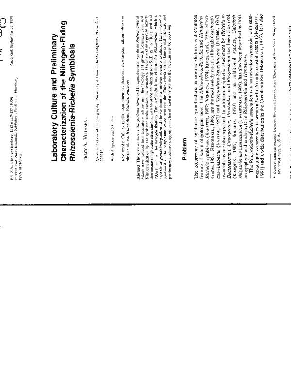 (PDF) Laboratory Culture and Preliminary Characterization