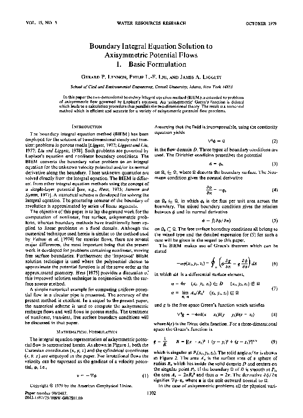 PDF) Boundary integral equation solution to axisymmetric potential