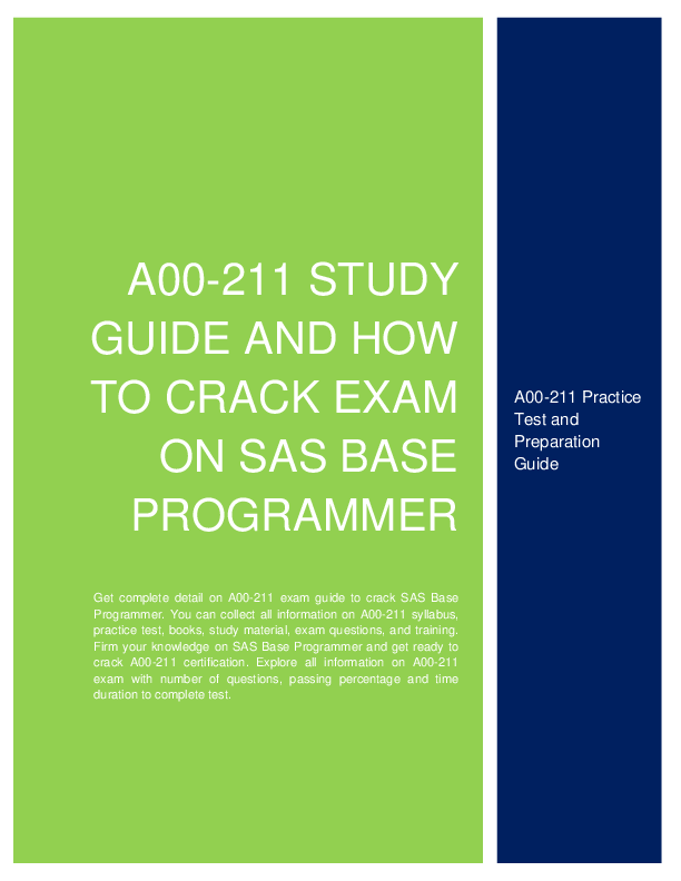 A00 211 Study Guide And How To Crack Exam On Sas Base Programmer