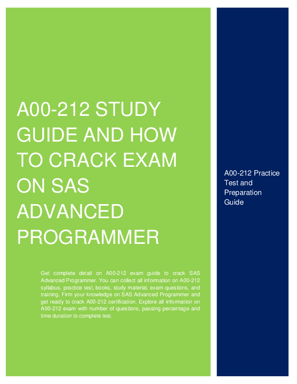 A00 212 Study Guide And How To Crack Exam On Sas Advanced Programmer