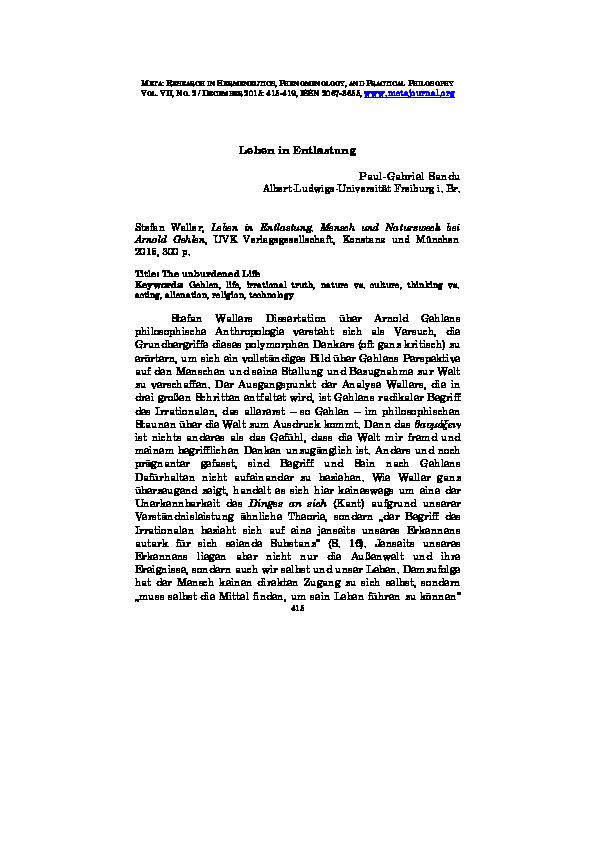 dissertation arnold gehlen