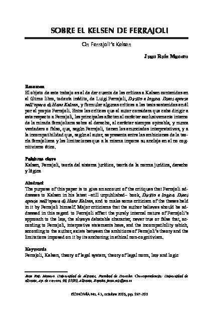 Pdf Juan Ruiz Manero Sobre El Kelsen De Ferrajoli