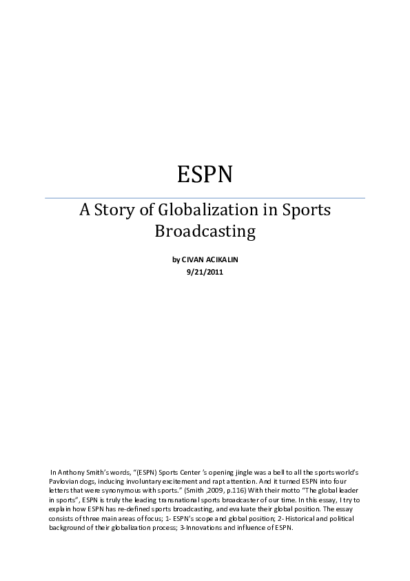 PDF) ESPN, A Story of Globalization in Sports Broadcasting