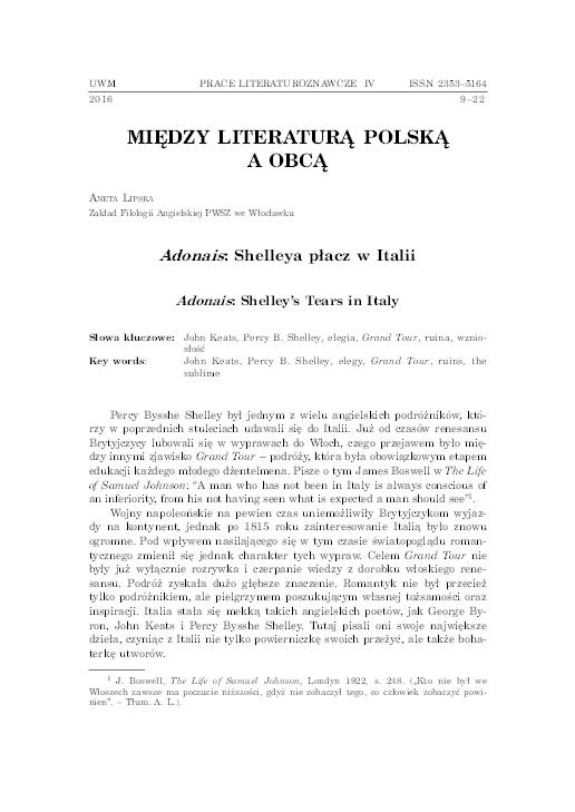 Pdf Adonais Shelleya Płacz W Italii Aneta Lipska