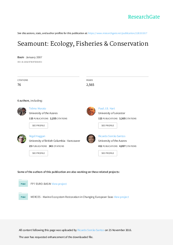 PDF) Seamounts: Ecology, Fisheries and Conservation | Nigel