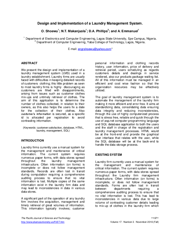 PDF) Design and Implementation of a Laundry Management System | Engr