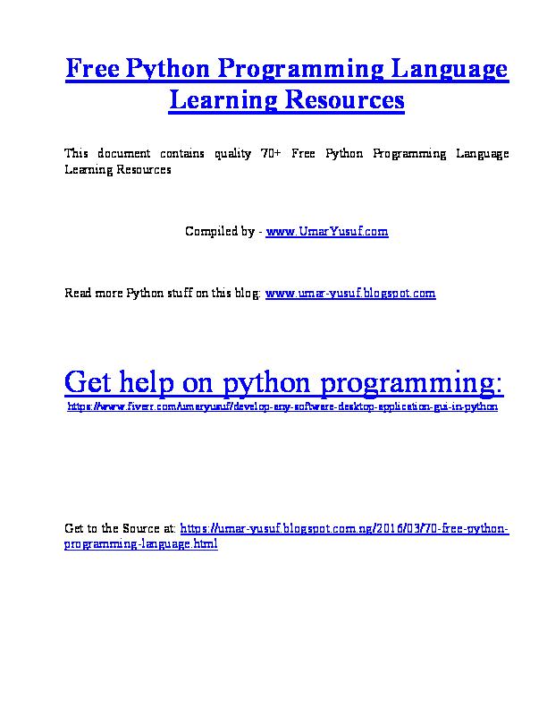 70 Free Python Programming Language Learning Resources Umar Yusuf