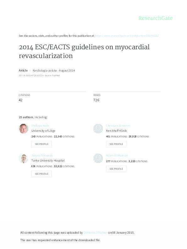 ee70a204597e3 PDF) Wytyczne ESC EACTS dotyczące rewaskularyzacji mięśnia sercowego ...