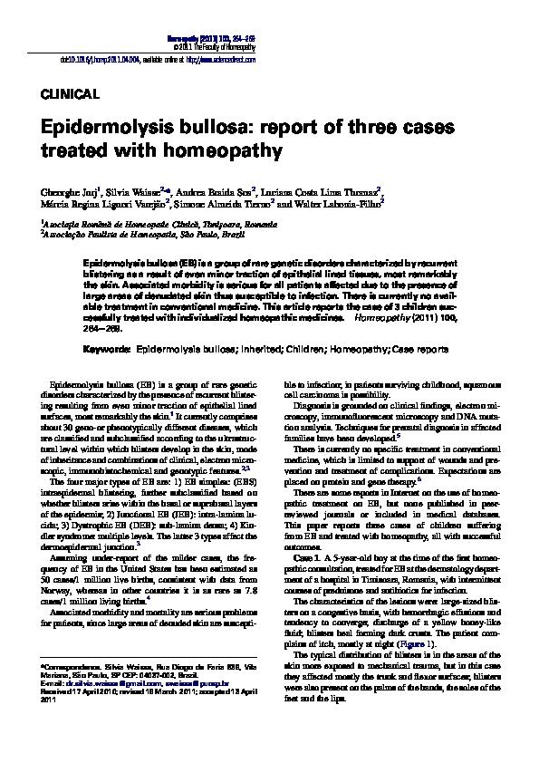 PDF) Epidermolysis bullosa: report of three cases treated