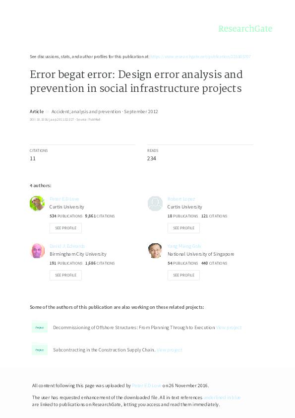 PDF) Error begat error: Design error analysis and prevention