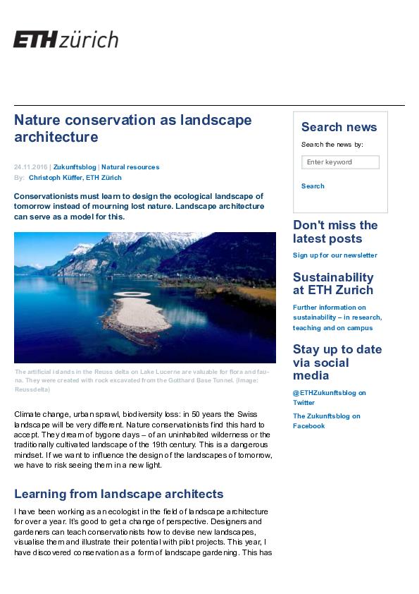 Pdf Nature Conservation As Landscape Architecture Christoph Kueffer Academia Edu