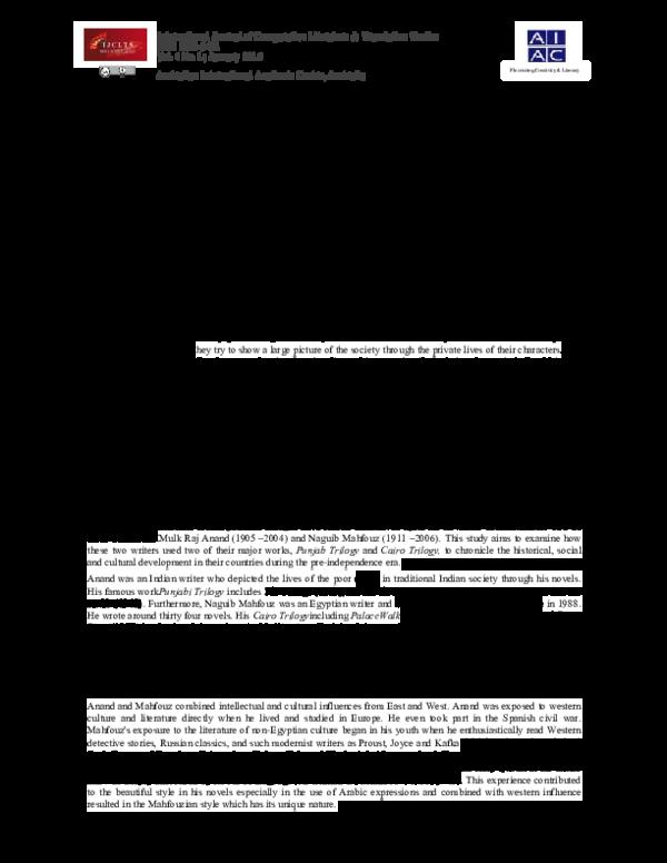PDF) Mulk Raj Anand's Punjab Trilogy and Naguib Mahfouz's