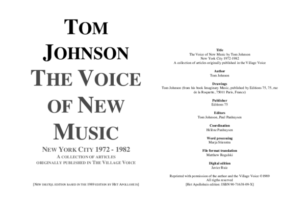 Pdf Tom Johnson The Voice Of New Music New York City 1972 1982 A Collection Of Articles Originally Published In The Village Voice Xu Yue Academia Edu