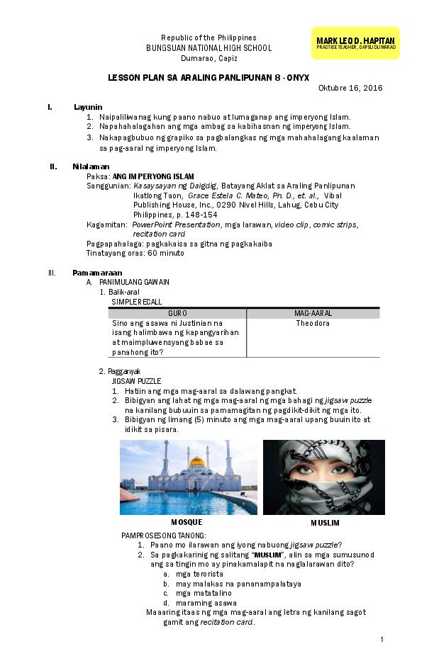 PDF) LESSON PLAN SA ARALING PANLIPUNAN SAMPLE | Mark Leo